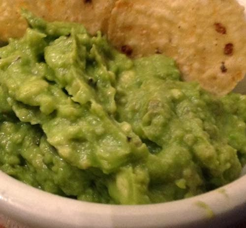 Creamy Guacamole Dip. You only need avocados, tomatoes, onion, lemon, salt and pepper.