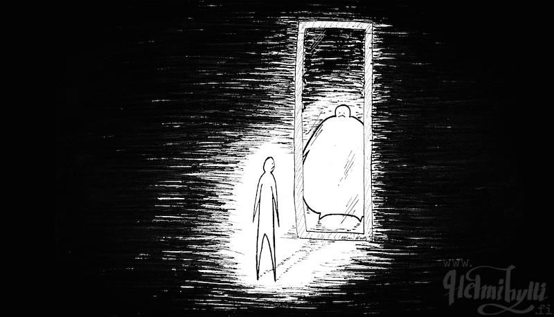 anoreksia syömishäiriö piirros peilikuva