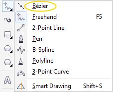 menggunakan bezier tool untuk membuat garis