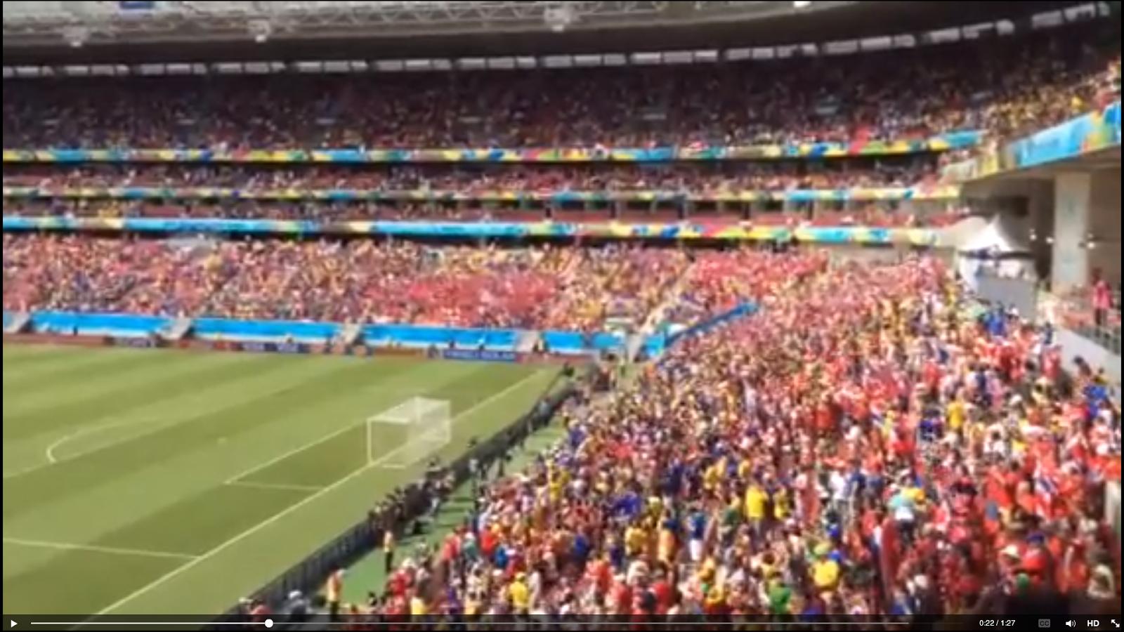 Himno Nacional de Costa Rica, Partido contra Italia, Brasil 2014