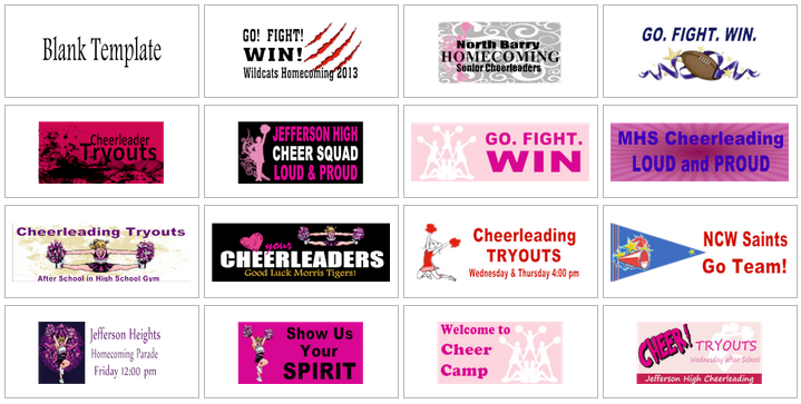 Cheer leading banner templates