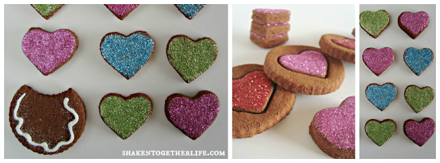 non-edible cinnamon spice dough Valentine's &quot;cookies&quot; with glitter frosting