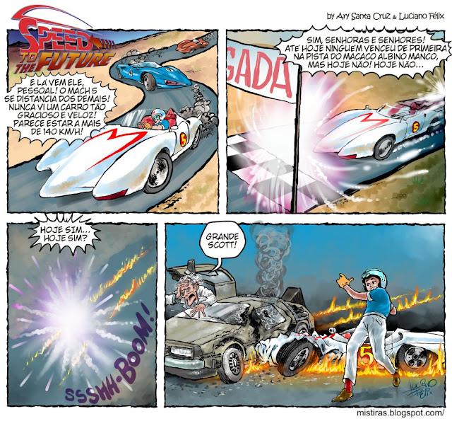 tirinha de volta para  o futuro e speed racer