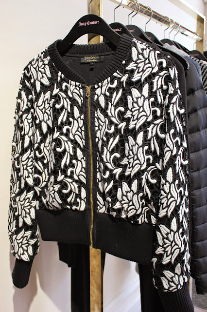 georgie-georgina-minter-brown-fashion-blogger-actress-juicy-couture-press-day-fall-2015-clothes-style-new-outfits-monochrome-cutout-bomber-jacket