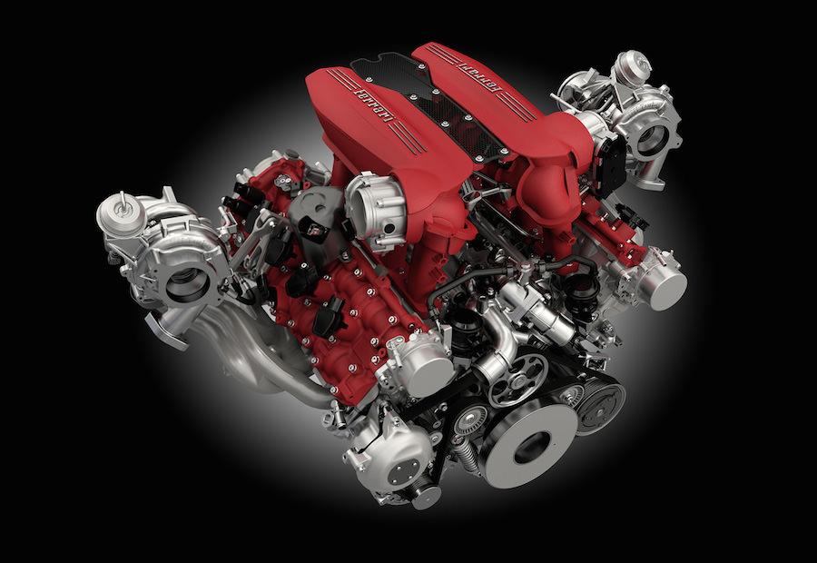 「フェラーリ488GTB」のV8ターボエンジン