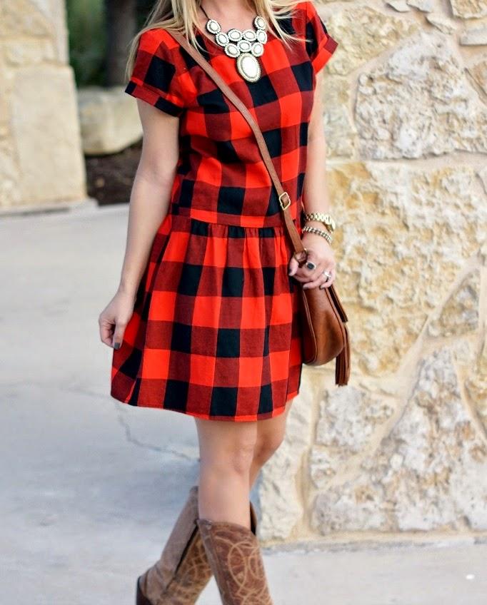 Black and red buffalo check plaid dress