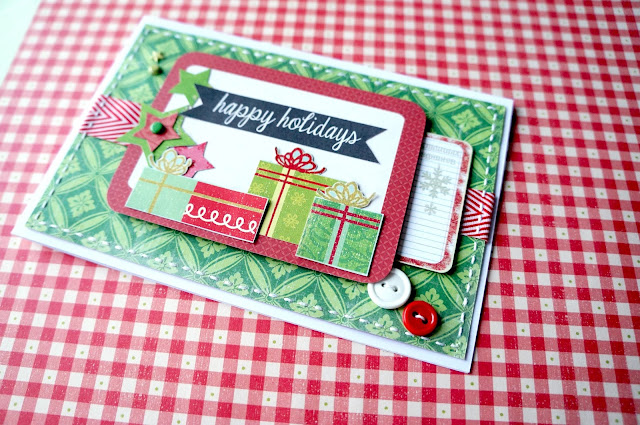 Christmas card in red and green tones.
