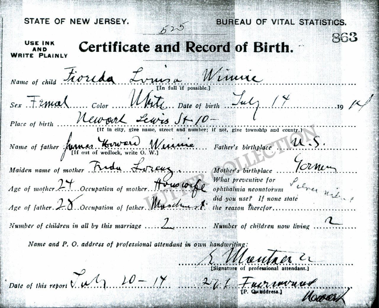 Family history research by jody gleanings from the life of a musician fioreda louisa winnie born july 14 1914 in newark aiddatafo Image collections