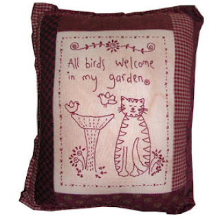Lynette Anderson Designs ALL BIRDS WELCOME Stitchery Pillow Pattern