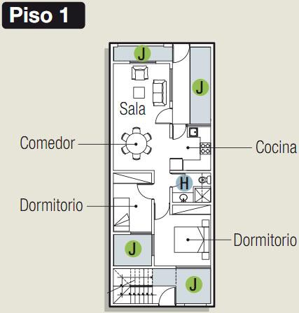 PLANOS PARA CONSTRUIR DEPARTAMENTOS EN 90 M2 via www.planosdecasas.blogspot.com