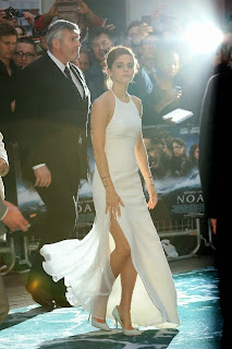 Emma Watson Pictures in White Dress at Noah Premiere in London  0023