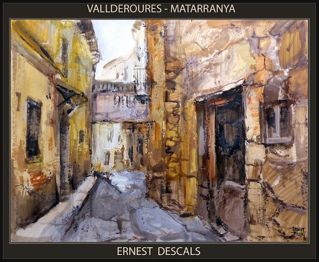 VALLDEROURES-PINTURA-MATARRANYA-VALDERROBRES-MATARRAÑA-TERUEL-PAISAJES-CALLES-PINTOR-ERNEST DESCALS-