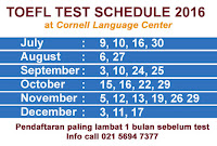 TOEFL TEST SCHEDULE