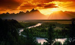 Beautiful Sunset Mountains 3D HD Wallpaper at freewallpaper01
