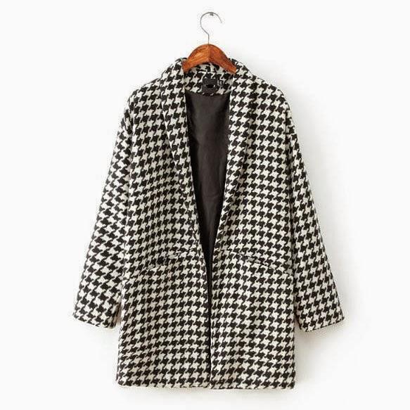 Houndstooth Woolen Coat
