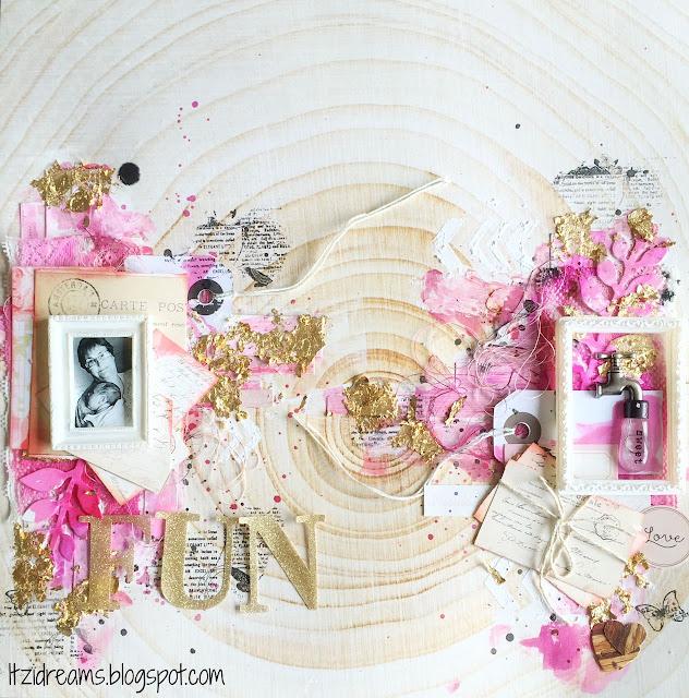 Watercolor, scrapbooking mix media, canvas, Gold leaf,