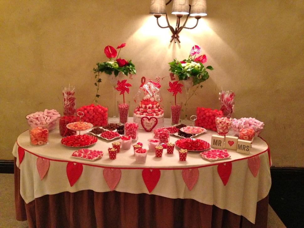Mesas de chuches mesas en rojo for Centros de mesa con chuches