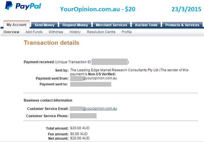 Paypal payment for $20 from Your Opinion for online surveys.