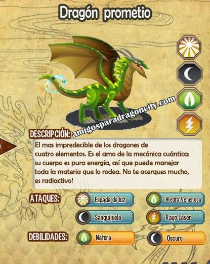 imagen de las caracteristicas del dragon prometio