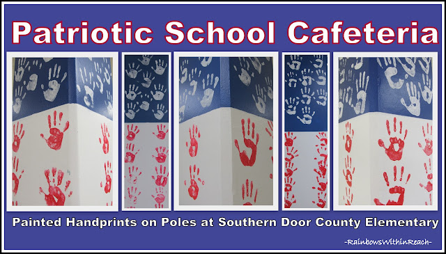 photo of: Patriotic Painted Handprints on School Cafeteria Poles
