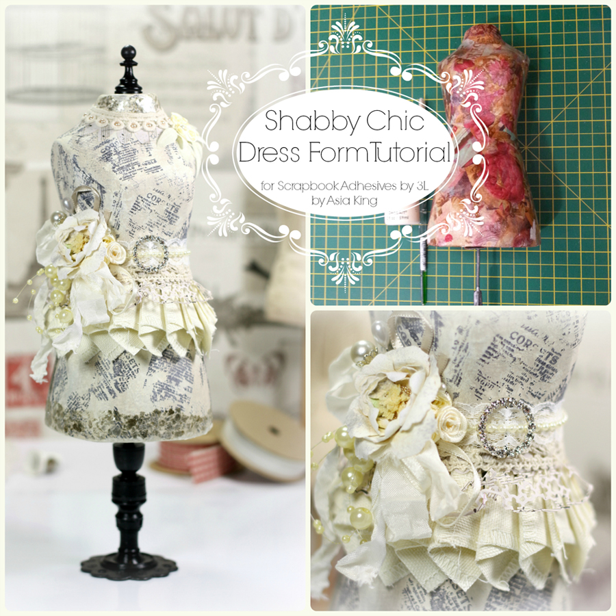 Shabby chic DIY dress form tutorial by Asia King