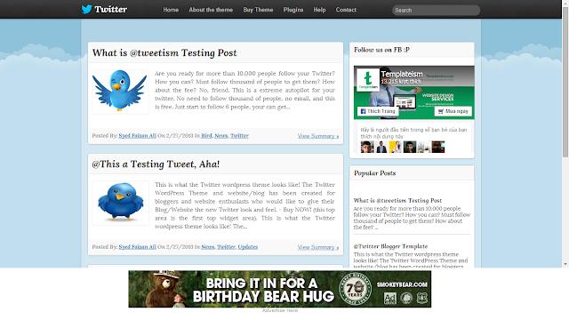 Blogger Template giống Twitter đẹp miễn phí
