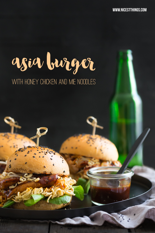 Asia Burger with Black Sesame, Ramen and Honey Chicken
