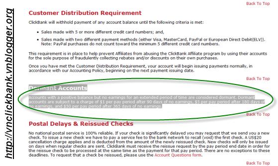 Tài khoản Clickbank không hoạt động Dormant accounts bị trừ tiền dần