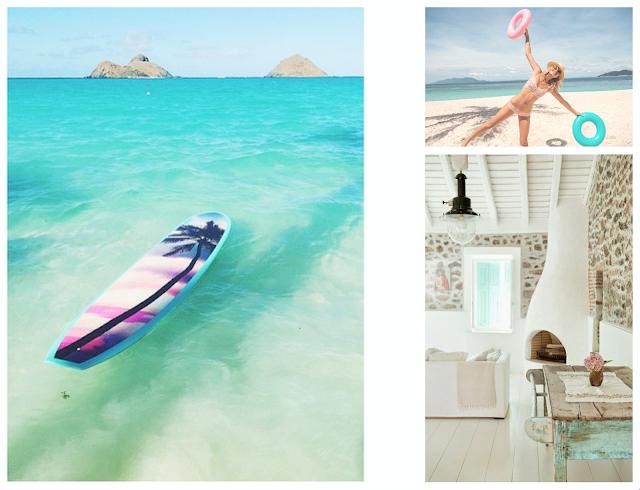 moodboard,inspiration,comment ensoleiller son hiver,turquoise,lagon des mers du sud,rotin,tillandsia,déco,lifestyle, abeachylife,maison de vacances