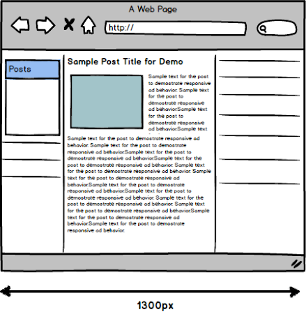 3-column website window sketch