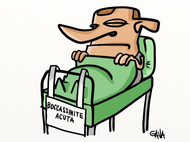 Gava gavavenezia satira vignette caricature ridere pensare ospedale uvite berlusconi bocassini letto verde malato immaginario occhi ghedini malattia