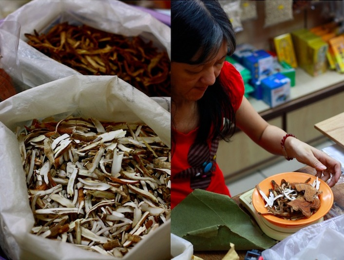 sorting chinese medicinal herbs for a healing soup recipe