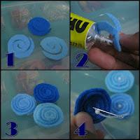Gunting kain flanel warna biru menyerupai guntingan obat nyamuk.