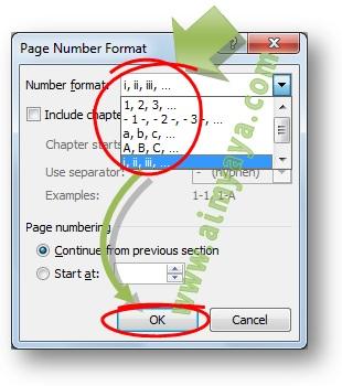 Gambar: Cara membuat nomor halaman romawi di  Microsoft Word