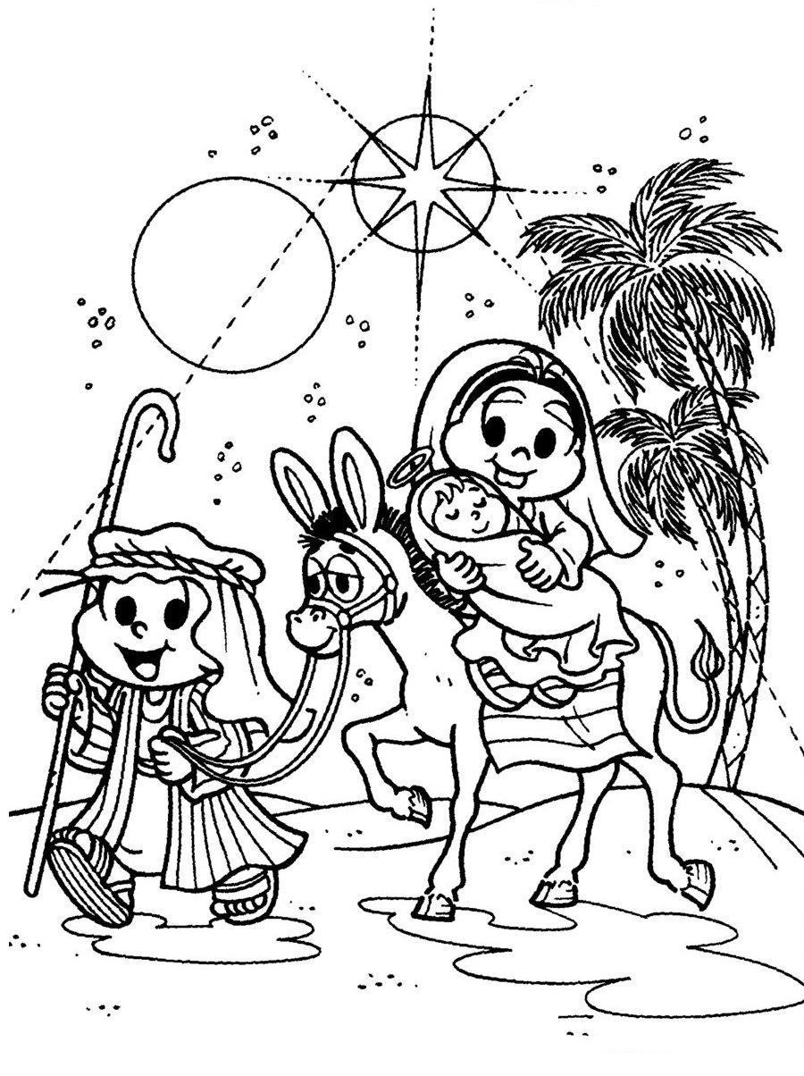 Desenhos Preto e Branco festa de natal da turma da monica Colorir