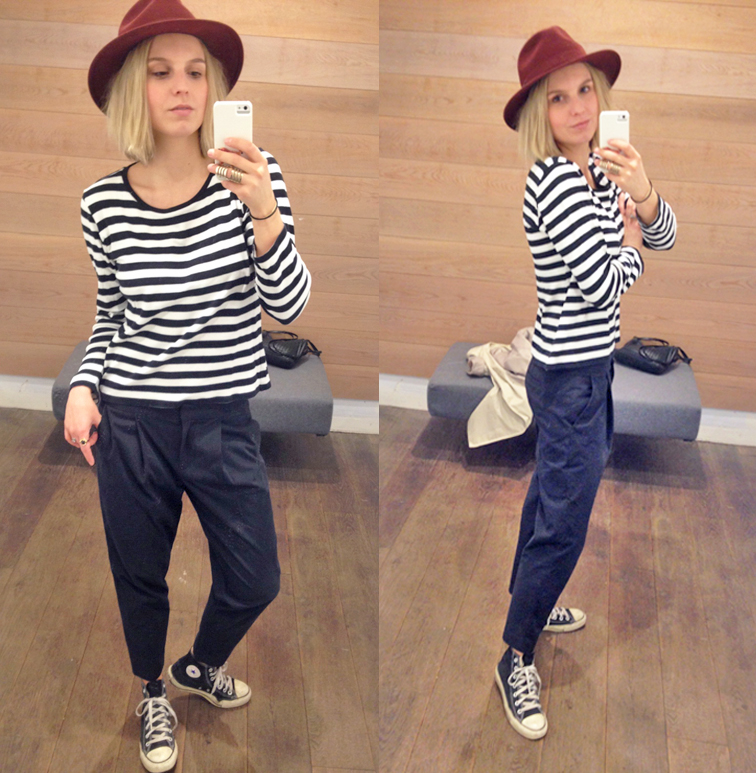 Long sleeve breton stripe t-shirt, Tibi pinstripe pants, high top chuck taylors, armor finger ring, wide brim hat