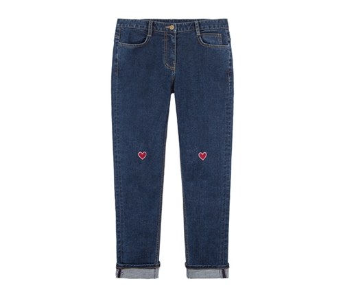 MXM Embroidered Heart Denim Pants