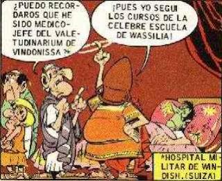 viñeta Asterix en Helvecia, descusión de médicos 1