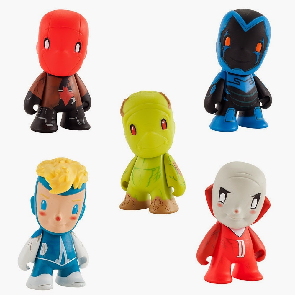 "DC Comics ""New 52"" Blind Box Mini Figure Series by Kidrobot - Red Hood, Blue Beetle, Swamp Thing, Animal Man & Deadman"