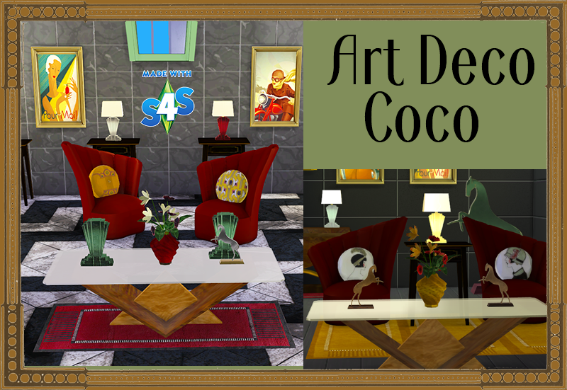 My sims 4 blog coco art deco living set by tkangie for Deco appartement sims 4