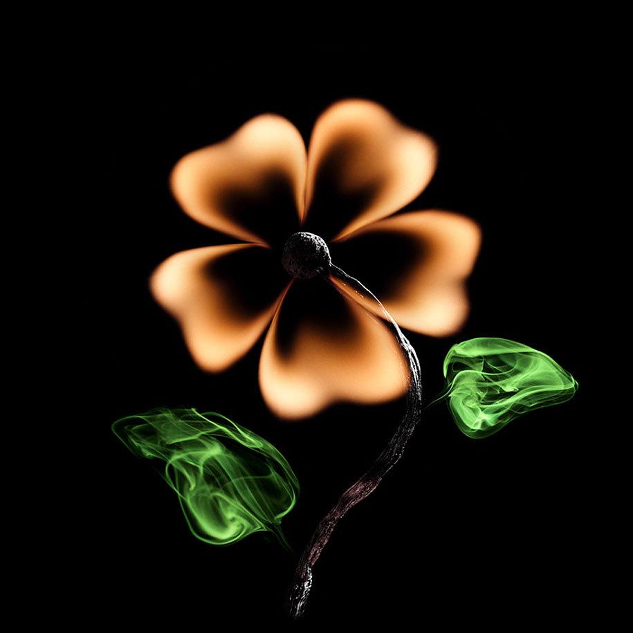 el fuego y una cerilla quemada como flor