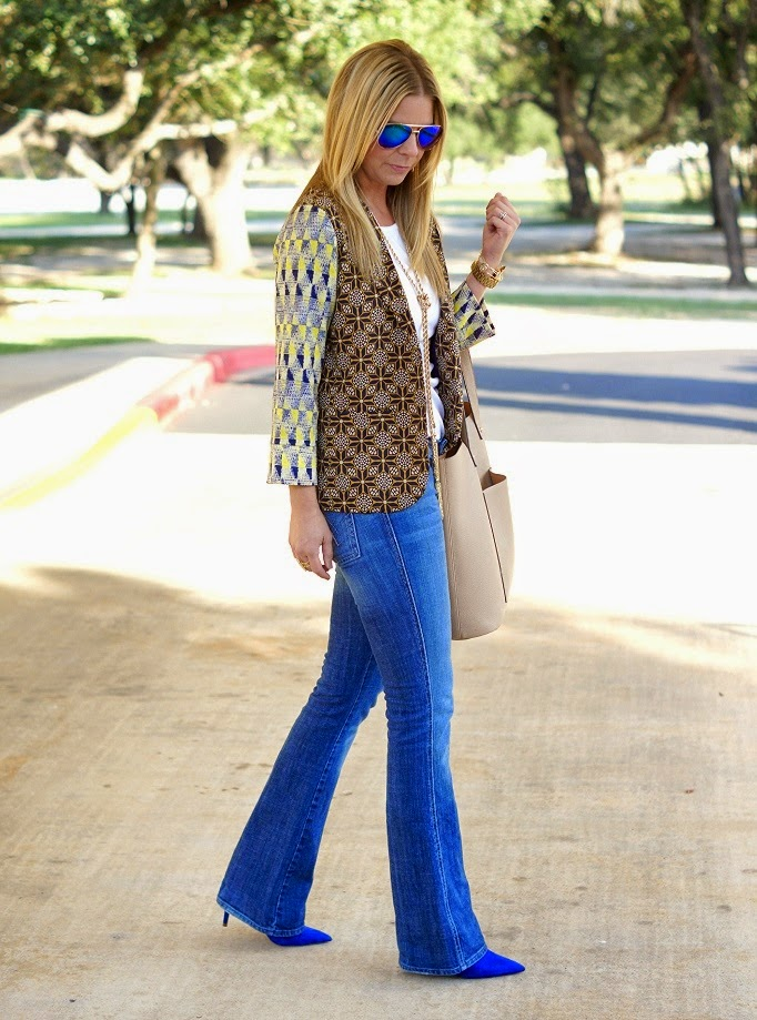 Printed Blazer and Bootcut Denim Jeans