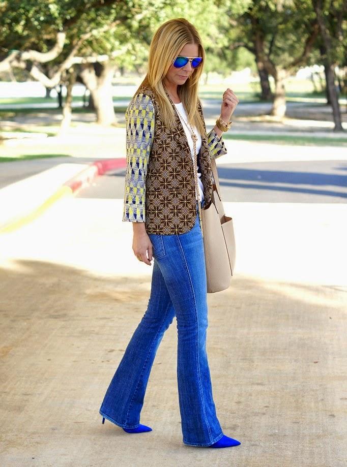Printed Blazer and Bootcut Denim Jeans