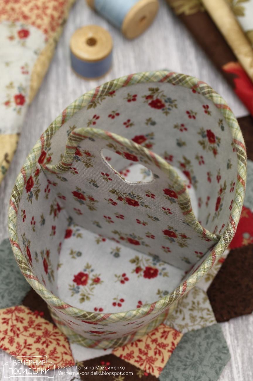 Корзинка круглая из ткани своими руками