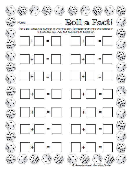 free printable math dice games for kids