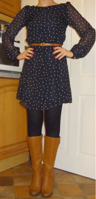 Outfit post blue polka-dot dress black tights brown ...