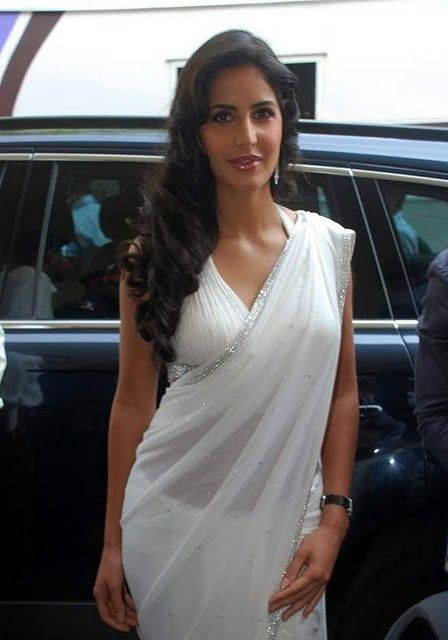 Bollywood Actress Katrina Kaif White Saree Stills Photogallery gallery pictures