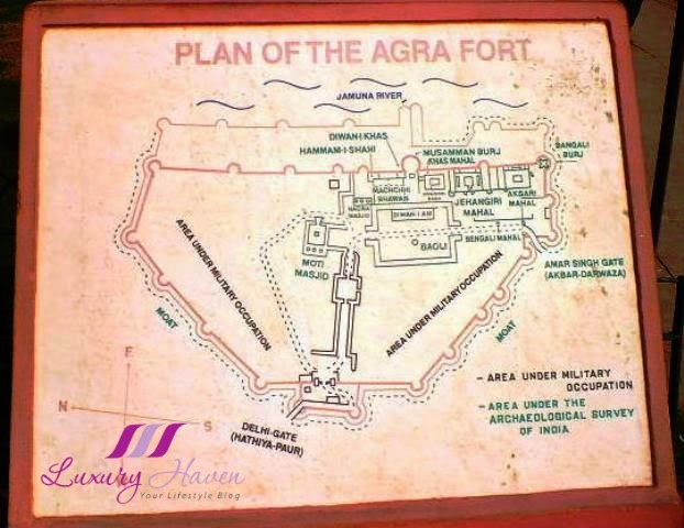 unesco world heritage site india agra fort map