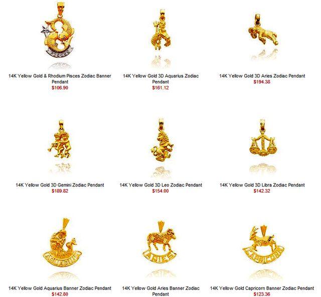 Gold Zodiac Pendants