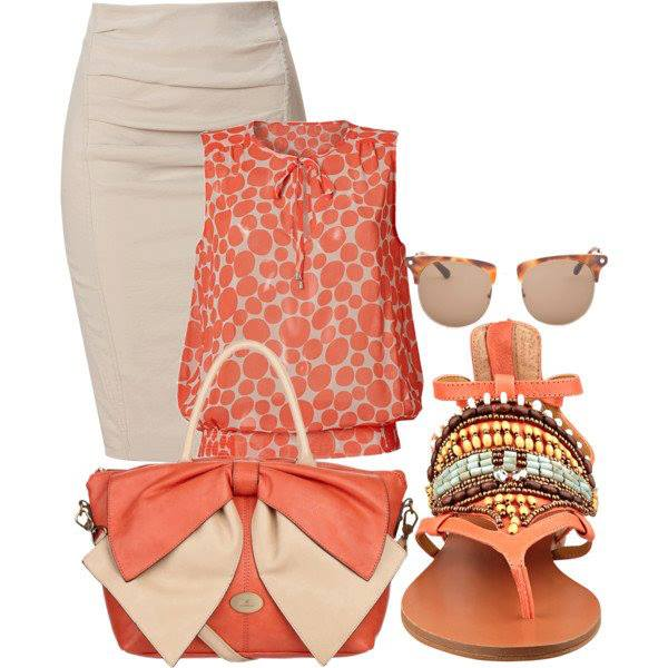 Orange blouse, sunglasses, sandals and stylish hand bag for ladies